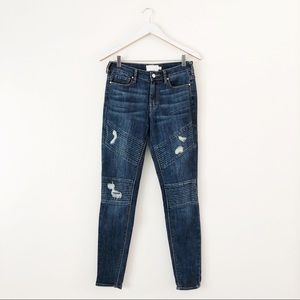 Kendall & Kylie Ripped Moto Mid Rise Skinny Jeans
